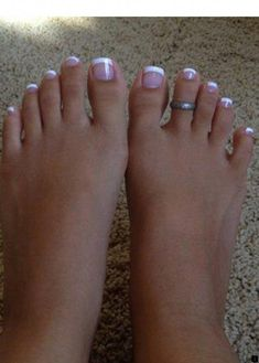 43 best french manicure toes images in 2019 French Toe Nails, French Tip Pedicure, French Manicure Toes, French Toes, French Pedicure Designs, Pink Toe Nails, Pretty Toe Nails, Toe Nail Color, Cute Toe Nails
