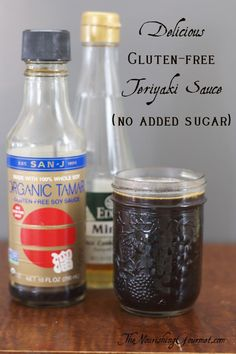 Gluten Free Teriyaki Sauce - use to marinate chicken wings, drizzle over rice and-or veggies, and more! This version uses rice wine instead of sugar for a delicious, complex flavor. (Substitute coconut aminos for the soy sauce/tamari to make soy free. Gluten Free Teriyaki Sauce, Sauce Teriyaki, Homemade Teriyaki Sauce, Homemade Sauce, Gluten Free Cooking, Gluten Free Desserts, Gluten Free Recipes, Whole 30, Sauce Sans Gluten
