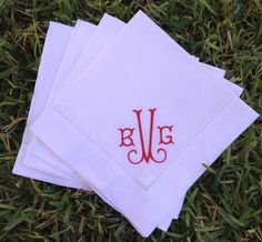 White Dinner Napkins with Monogram, Set of 4 $21