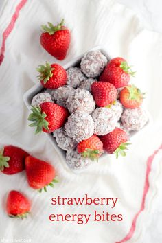 snack it to me: strawberry energy bites | Sheri Silver - living a well-tended life... at any age Wheat Free Recipes, Vegan Recipes, Wheat Free Baking, Energy Bites, Vegan Treats, Plant Based Recipes, Fresh Fruit, Food Processor Recipes, Dairy Free