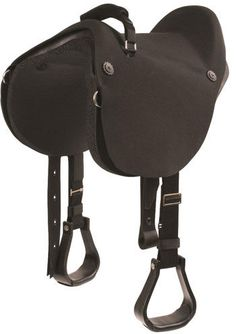 Mustang Soft Ride Saddle. The perfect combination of a soft shock-absorbing bareback pad with the added comfort of a form fitted seat. The seat features a high rise cantle for added support.