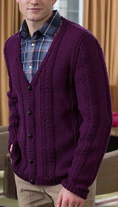 2c1b3547c Free Knitting Pattern for Men's V-Neck Cable Cardigan Mens Knitted Cardigan,  Sweater Knitting