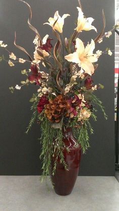 Nice pop of color! Tall Flower Arrangements, Artificial Floral Arrangements, Tall Flowers, Dried Flowers, Flower Vases, Artificial Flowers, Flower Pots, Contemporary Flower Arrangements, Floor Vase Decor