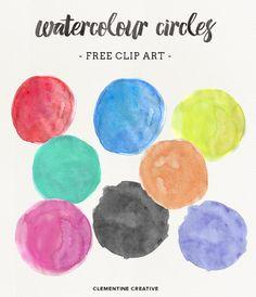 Watercolor Circles {Free Clip Art}