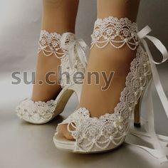 """3"""" 4"""" Blanco Marfil Satinado Encaje Cinta De Tacón Puntera Abierta Boda Zapatos Novia Talle 5-9.5"""