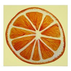 Orange slice macro fruit watercolor art poster