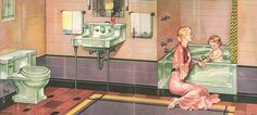 The Evolution of Colored Bathroom Fixtures - Old House Restoration, Products & Decorating Pastel Bathroom, Peach Bathroom, Purple Bathrooms, Vintage Bathrooms, Bathroom Colors, Tiled Bathrooms, Colorful Bathroom, 1930s Bathroom, Art Deco Bathroom