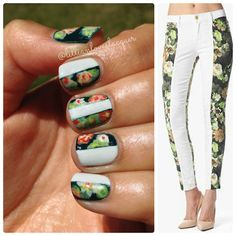 These 7 for all mankind floral print jeans make a great nail pattern! Great Nails, My Nails, Nail Manicure, Nail Polish, Manicures, Spirit Finger, Nail Patterns, Printed Denim, Nail File