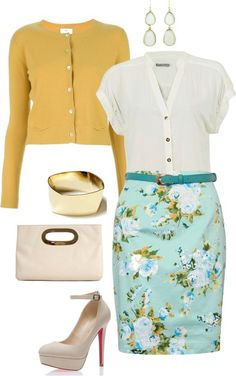 Easter outfit: blue floral pencil skirt, mustard cardigan with white patent accessories Stylish Work Outfits, Cute Outfits, Skirt Outfits, Work Fashion, Fashion Outfits, Womens Fashion, Paris Outfits, Floral Fashion, Fasion