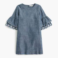 J.Crew Girls' ruffle-sleeve chambray dress