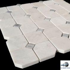 Iceberg Carrara White Marble Polished Hexagon with Grey Dot Mosaic on Mesh | eBay
