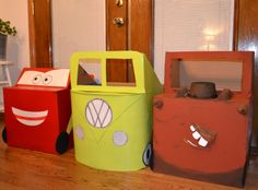 cardboard cars for the kids  Love this idea....starting to think I might make an apple box size one for  youngest boy's Halloween costume this year.