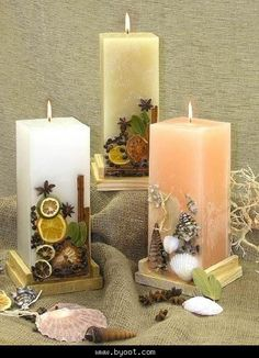 How To Make Organic Candles Gel Candles, Scented Candles, Pillar Candles, Candels, Beeswax Candles, Natural Candles, Candle Art, Candle Lanterns, Candle Decorations