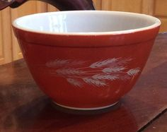 Vintage Pyrex Autumn Harvest Wheat Nesting Bowl 401 Reddish Orange 750 ML USA #Pyrex