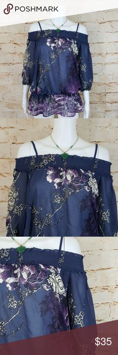 """Gorgeous Guess cold shoulder blouse Excellent condition like new Guess cold shoulder blouse with adjustable shoulder straps gathered elastic waistband beautiful  flower print 17"""" across from armpit to armpit and 30"""" long from shoulder to hem Guess Tops"""