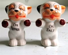Antique Salt and Pepper Shakers, Bonzo the Dog, Antique Kitchen, Mid Century Kitchen, Antique Shakers,