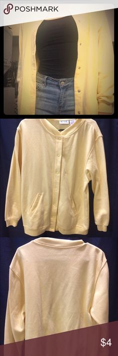 Cotton button up sweater Super comfy oversized yellow button up sweater. A couple stains (shown in close up pics) but they are not very noticeable. Sweaters Cardigans