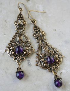 LADY AMETHYST romantic vintage fantasy inspired Victorian amethyst earrings   by TheVictorianGarden
