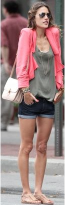 simple gladiator sandals. tank top and a cardigan. bright color.