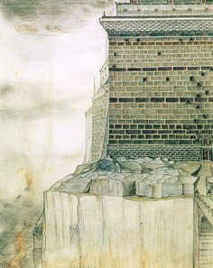 """Barad-dûr: The Fortress of Sauron,"" circa Barad-dûr means ""dark tower"" in Elvish (Sindarin). Credit The Tolkien Estate Ltd; Bodleian LibraryTolkien's World: An Exhibition Transports Us to Middle-earth - The New York Times Jrr Tolkien, Tolkien Quotes, Legolas, Gandalf, Fantasy Landscape, Fantasy Art, Tolkien Drawings, Barad Dur, John Howe"