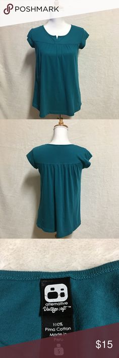 Alternative Vultage Soft Blouse Size Small Short sleeve casual blouse in hunter green color Great Condition almost new 100% pima Cotton Soft material Alternative Tops Blouses