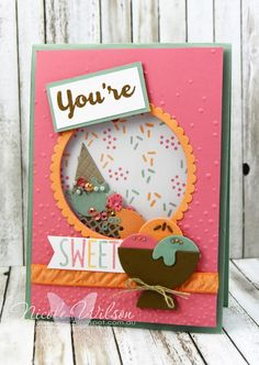 Nicole Wilson Independent Stampin' Up!® Demonstrator - Onstage Live Brisbane Display Board Shaker Card Sample using Cool Treats stampset and the frozen Treats Framelits. www.facebook.com/NicoleWilsonStamp #stampinup #onstage2016 #brisbanelive