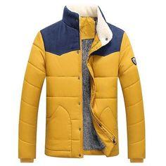 #Valentines #AdoreWe #Dresslily - #Dresslily Splicing Design Flocking Stand Collar Long Sleeve Badge Men's Cotton-Padded Jacket - AdoreWe.com