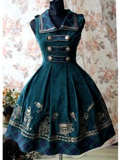 Home > Lolita > Sleeveless Printed Pattern Sweet Rococo Lolita Dress