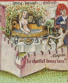 Venus Bathing. Martin le Franc, Le Champion des Dames (1440) Bibliothèque nationale de France, Département des manuscrits, Français 12476, detail of f. 10r