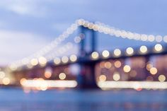 New York City Photography Dreamy NYC Manhattan Skyline Manhattan Bridge Abstract Art Bokeh Night Blu