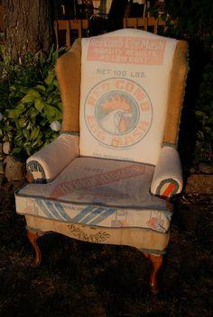 vintage grainsack upholstered wingback chair set. $1,100.00, via Etsy.