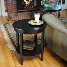 Bay Shore Collection Round Accent Table with Wood Top, Black