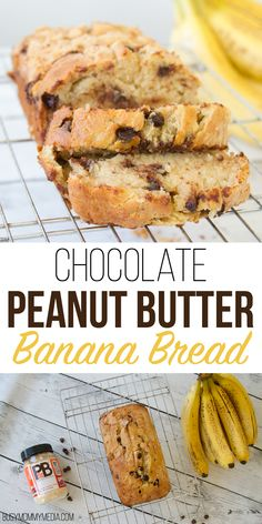 Chocolate Peanut Butter Banana Bread - This banana bread recipe takes your favorite comfort food to the next level. With chocolate chips and peanut butter, this banana bread was a HUGE hit at my house. We will definitely be making this again! Peanut Butter Banana Bread, Chocolate Chip Banana Bread, Healthy Peanut Butter, Chocolate Chip Recipes, Banana Bread Recipes, Chocolate Peanut Butter, Chocolate Chips, Mint Chocolate, Sour Cream Banana Bread