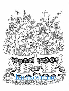 tea cups adult coloring page instant digital by kilykostudio