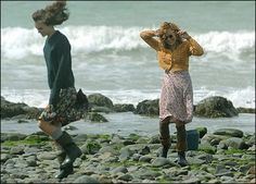 Film still from The Edge of Love - love the thick sweaters paired with the wellies...