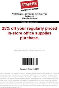 Browse for Staples coupons valid through December below. Find the latest Staples coupon codes, online promotional codes, and the overall best coupons posted by our team of experts to save you $20 off at Staples.