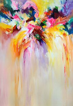 """Colorful abstract painting. Modern art. 39.4"""" x 27.6"""""""