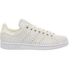 Adidas Stan Smith (1.233.575 IDR) ❤ liked on Polyvore featuring shoes, adidas, snake shoes, champagne shoes, off white shoes and perforated shoes