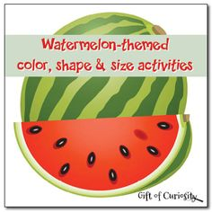 Watermelon-themed Color, Shape  Size Activities {Free Printables] at Gift of Curiosity. These FREE activity pages are perfect for practicing matching, sorting, sequencing, and colors!