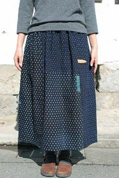 Japanese boro mixed indigo reversible skirt/kasuri/kimono noragi/patchwork sashiko/Japan/handmade/antique/283