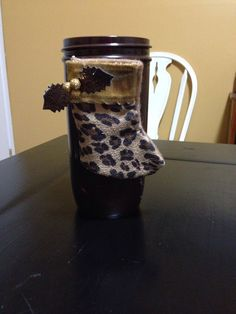 Brown jar with cheetah stocking