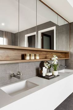 55 Stunning Farmhouse Bathroom Mirror Design Ideas And Decor - . 55 Stunning Farmhouse Bathroom Mirror Design Ideas And Decor - Always aspired. Farmhouse Bathroom Mirrors, Bathroom Mirror Design, Bathroom Inspo, Modern Bathroom Design, Bathroom Interior Design, Bathroom Styling, Bathroom Ideas, Bath Ideas, Bath Design