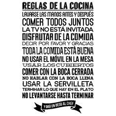 Vinilos Decorativos: Reglas de la Cocina Karma, Real Life, Diy And Crafts, Nostalgia, Lettering, Inspiration, Kitchen, Texts, Amor