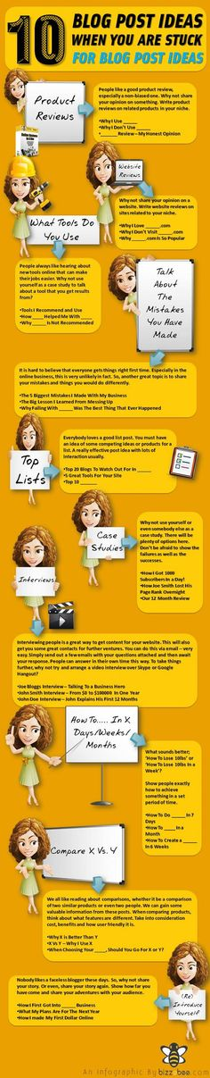 #Tipsforwriting 10 blog posts ideas #inforgraphic English