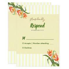 #Yellow Parrot Tulips Floral Art Wedding Response Card - #weddinginvitations #wedding #invitations #party #card #cards #invitation #watercolor