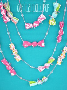Cute candy garland idea for Willy Wonka Party