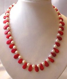 "XaXe.com - graceful 17.5"" white pearl and red coral necklace"