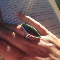 Faceted ring. Pounamu/NZ Jade, silver.