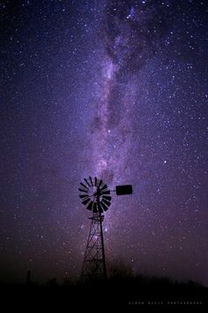 Windmill & stars. Chinchilla, Queensland, Australia.