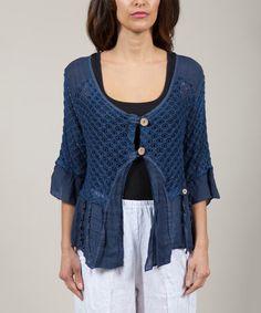 Look at this #zulilyfind! Navy Katia Three-Quarter Sleeve Linen Cardigan by Anabelle #zulilyfinds